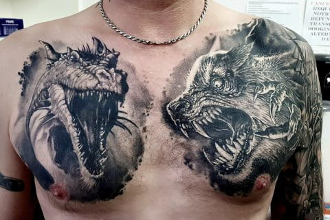 Chest tattoo by Tony